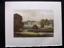 Morris Seats 1860's Antique Print. Audley End